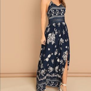 Shein Lace Insert Split Floral Maxi Cami Dres